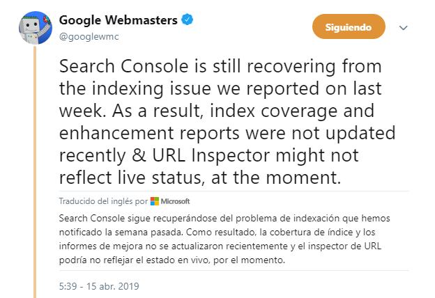 15 de abril problemas de indexación