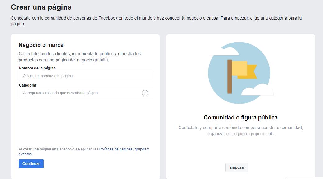 fanpage negocios facebook
