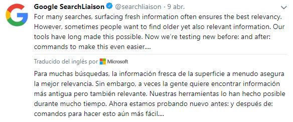 Información google SearchLiaison