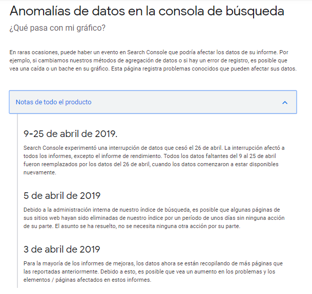 Notas Search Console