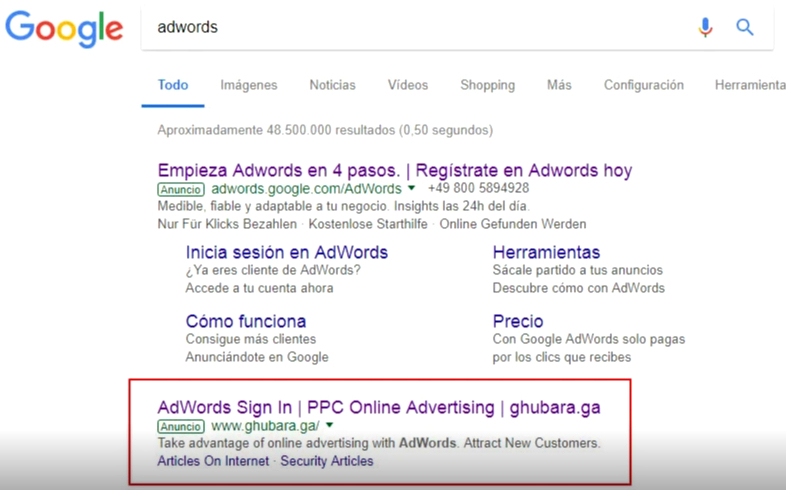 phishing en google adwords